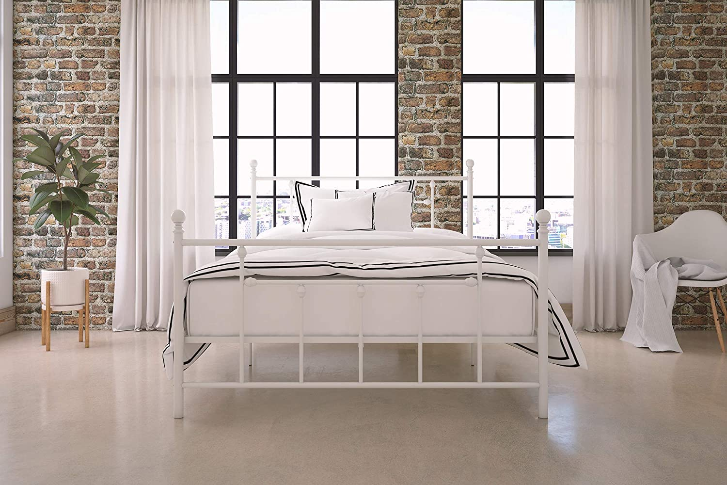 Black Bed Twin Size Frame DHP Manila Metal Canopy