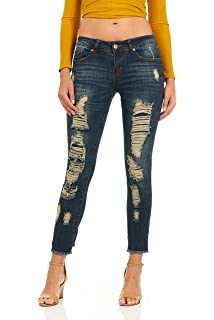 ea05714c3d5 Ripped Distressed Washed Skinny Stretch Jeans for Women Junior or Plus Sizes