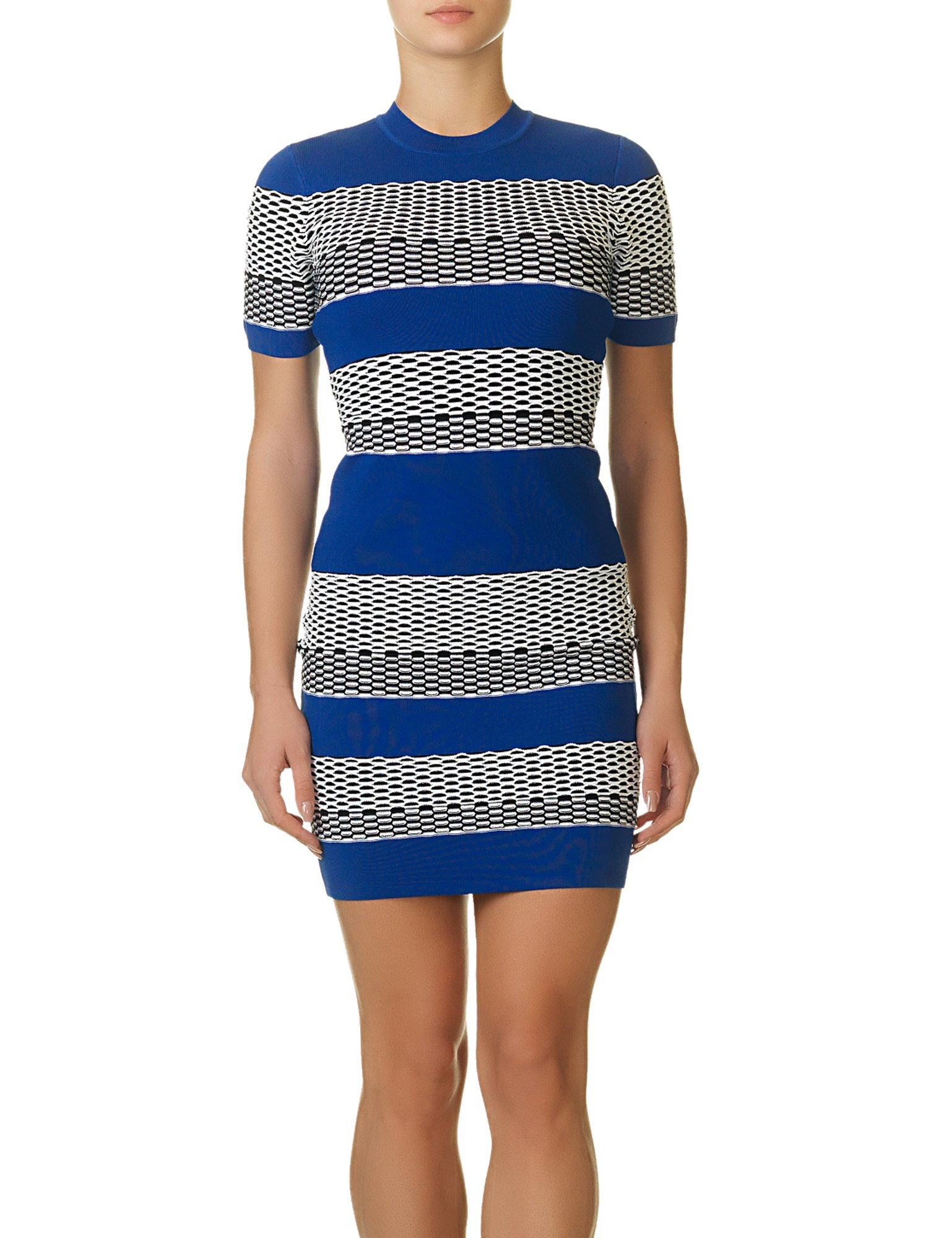 Kendall + Kylie Womens Patterned Stripes Stretch Casual Dress Blue L