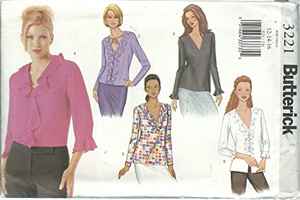 Amazon.com: Butterick 3221 Sewing Pattern Misses Easy Blouses Size ...