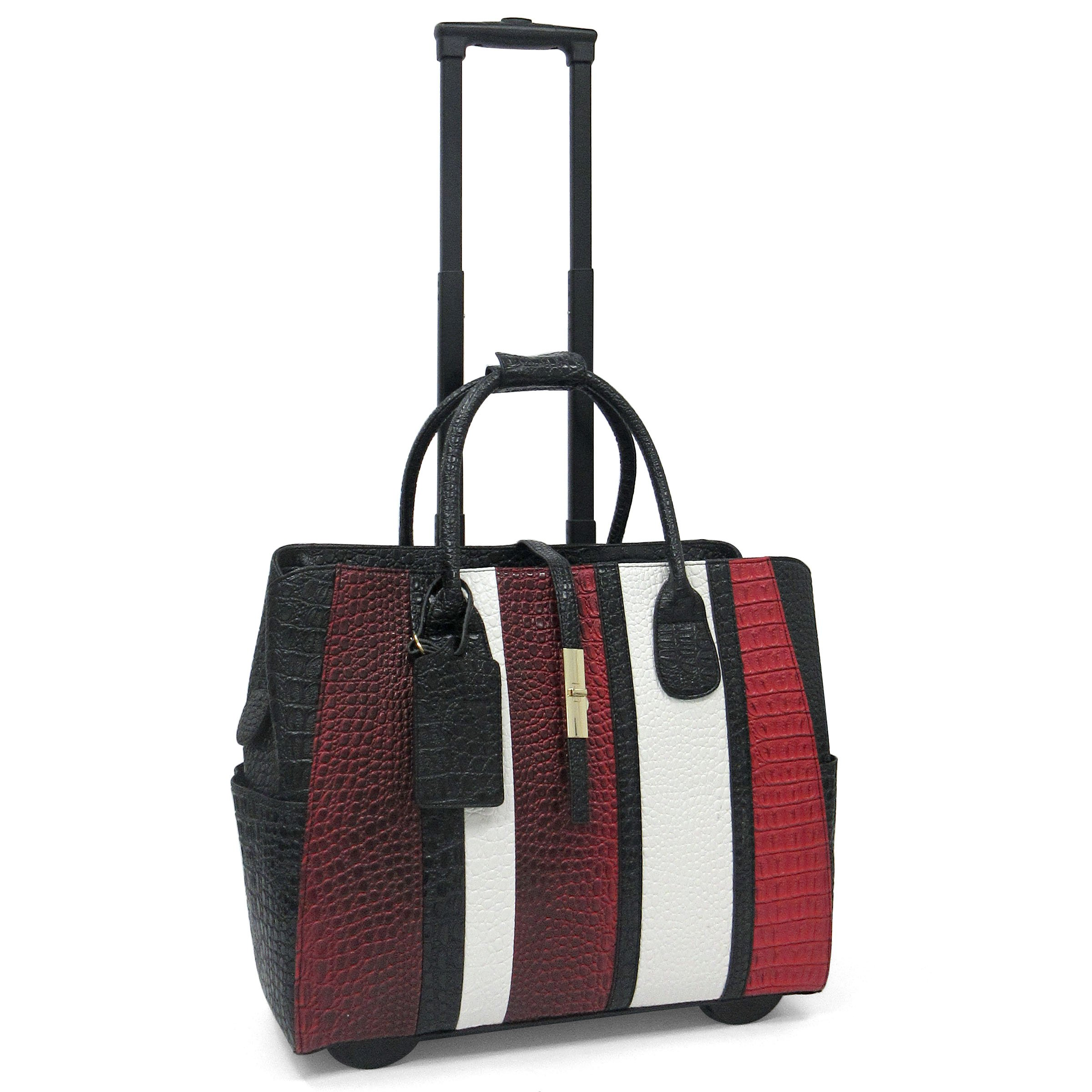 Cabrelli Caroline Rolling Briefcase (Black/Red/White)