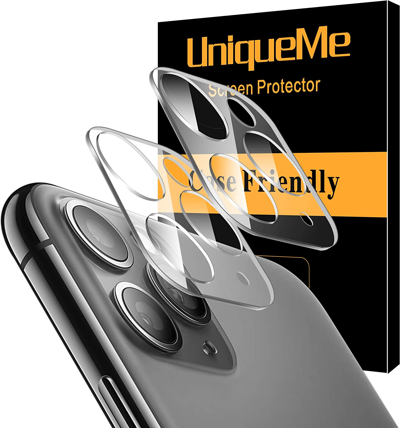 [ 2 Pack] UniqueMe Camera Lens Protector for iPhone 11 Pro/iPhone 11 Pro Max Tempered Glass, Easy Install 9H Hardness HD Clear