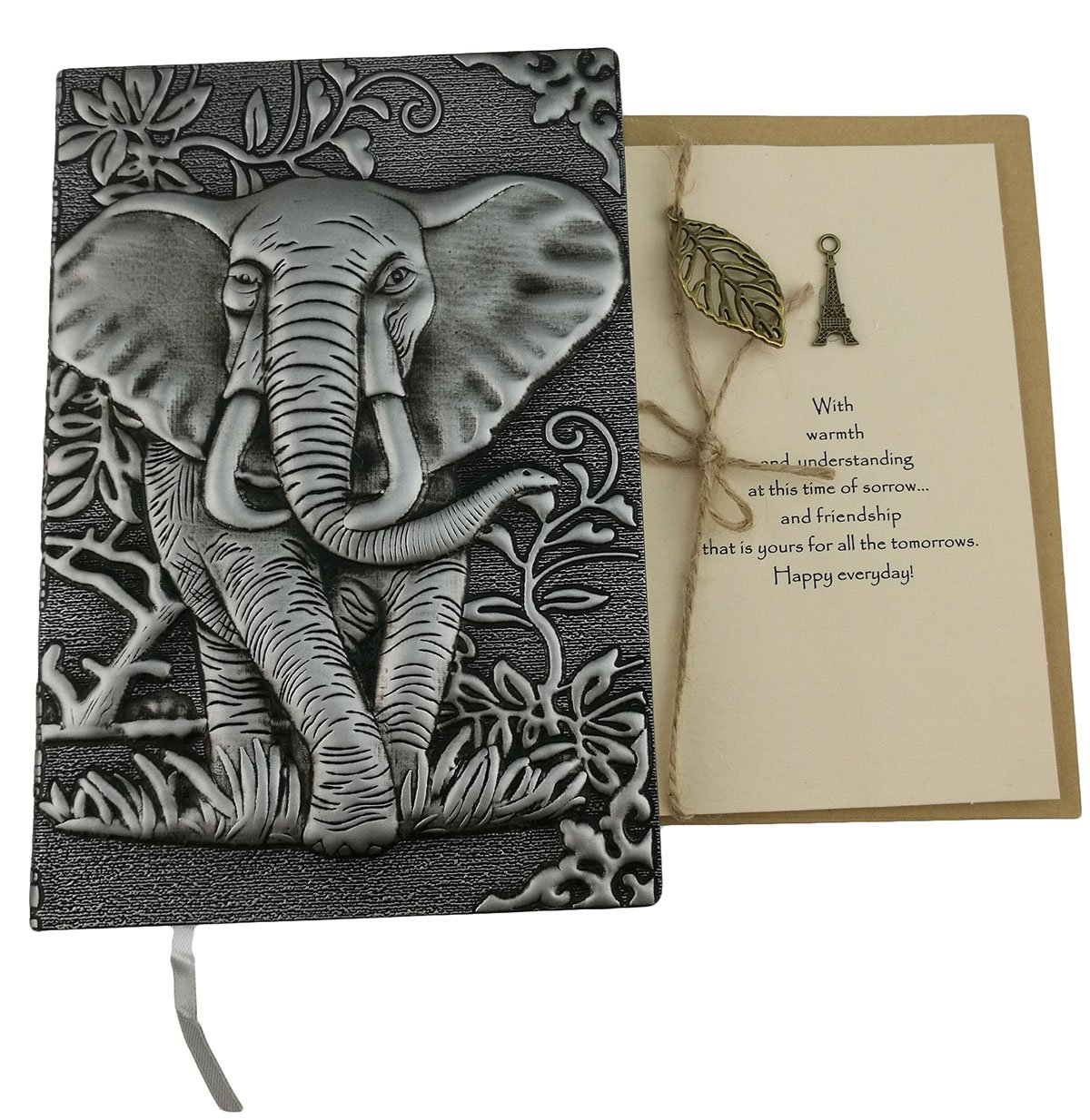 Personalized Handmade 3D Embossed Leather Retro Elephant Pattern Daily Planner Travel Journal Notebook With Greeting Card For Study Birthday Christmas Friends Family Dad Business Partner Gift (Grey)