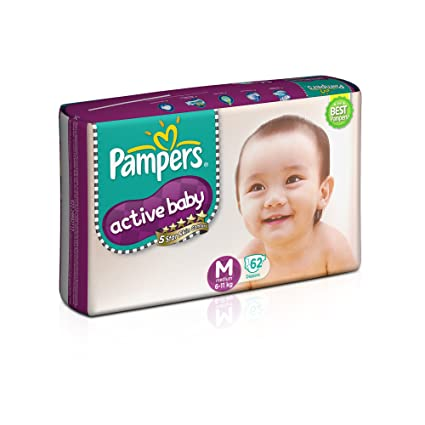 3250d0d89bfc Buy Pampers Active Baby Medium Size Diapers (62 Count) Online at Low ...
