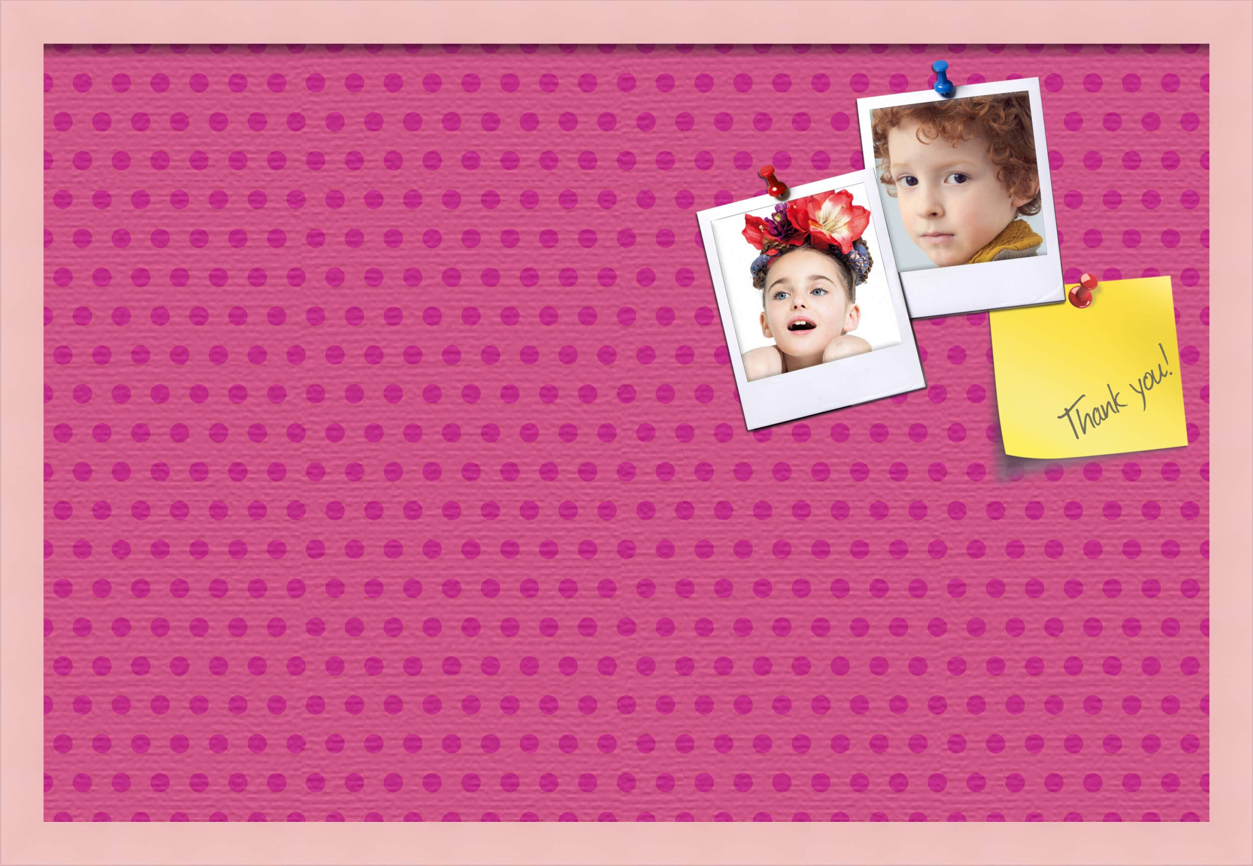 ArtToFrames 30x20 Inch Custom Cork Bulletin Board. This Colorful Pattern Pin Board Comes Has a Fabric Style Canvas Finish, in a Baby Pink on Beech Frame (PinPix-450-30x20_0066-81792-YPNK) by PinPix