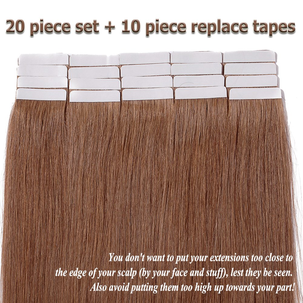 Amazon Light Brown Tape In Hair Extensions Human Hair 100