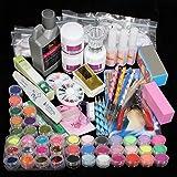josep.h Juego completo acrílico polvo UV Gel Kit de punta de pincel lámpara de luz UV NAIL ART DIY Kit de manicura con uñas de pato (1)
