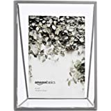 AmazonBasics Wedge Floating Photo Frame for 4 x 6 Inch Photos - Slim Frame, Nickel