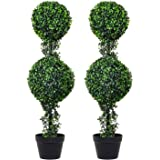 DearHouse 3.2Ft Artificial Boxwood Leave Double Ball Shaped Topiary Plant Tree in Plastic Pot, 2Pack Potted Indoor or…