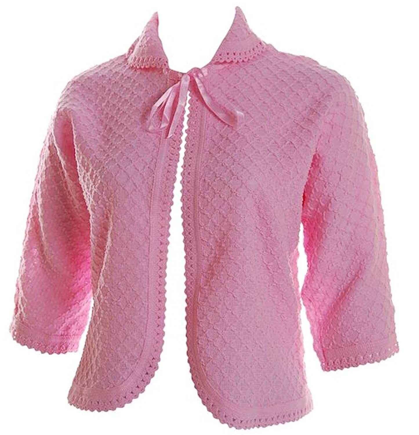 Vintage Nightgowns, Pajamas, Baby Dolls, Robes Lady Olga Womens Knitted Front Tie Bed Jacket Bolero Style $19.94 AT vintagedancer.com