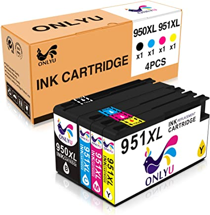 1 Black,1 Cyan,1 Magenta,1 Yellow 4 Pack Compatible Ink Cartridges Replacement for HP950 951XL Work for Officejet PRO 8600 8610 8620 8630 8100 8640 8660 8615 8625 251dw 276dw Printer