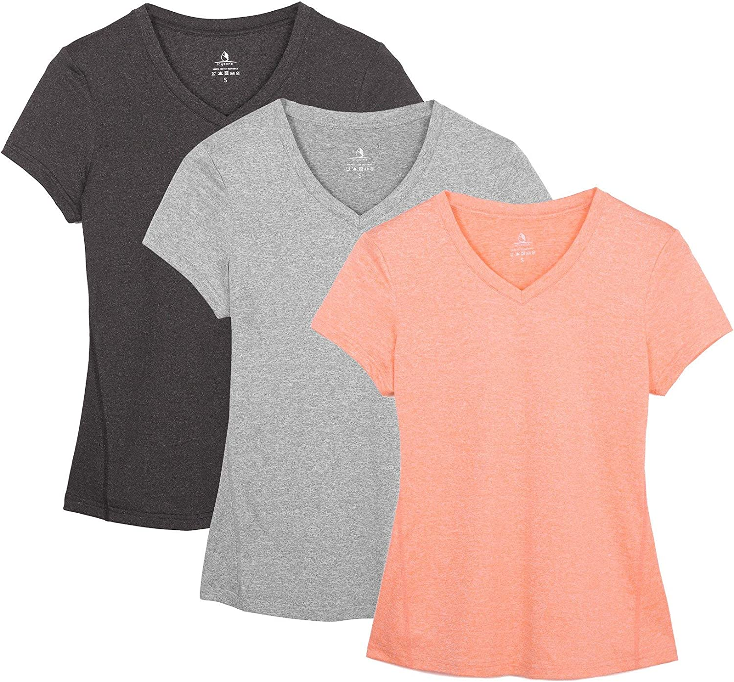 icyzone Workout Shirts Yoga Tops Activewear V-Neck T-Shirts for Women Running Fitness Sports Short Sleeve Tees(Pack of 3)