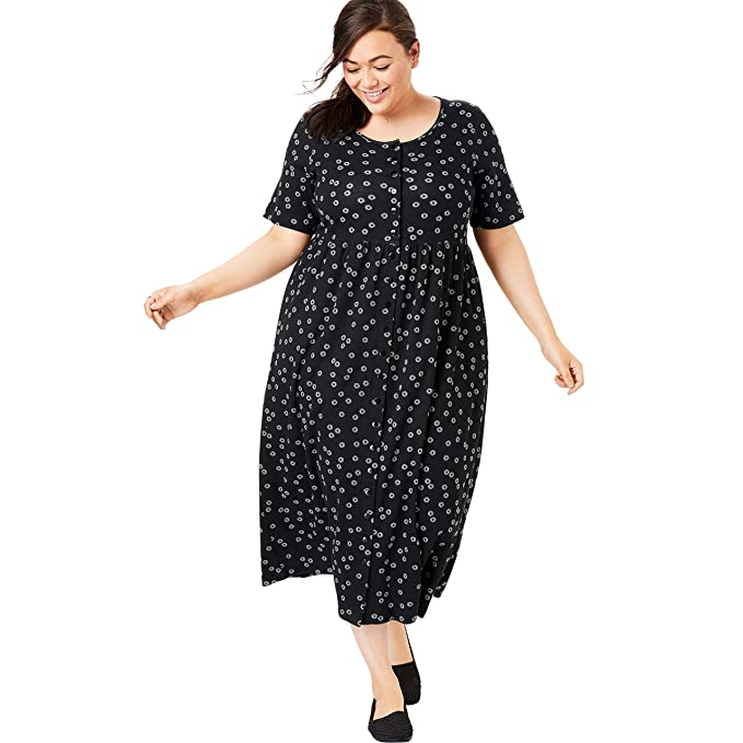 Woman Within Women\'s Plus Size Dot Button-Front Essential Dress