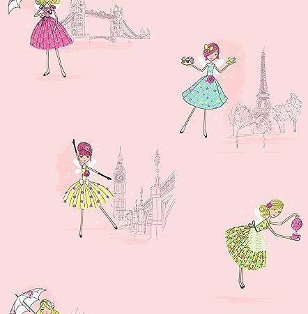 Girls Kids Girl Nursery Wallpaper Wallpaper Patterned