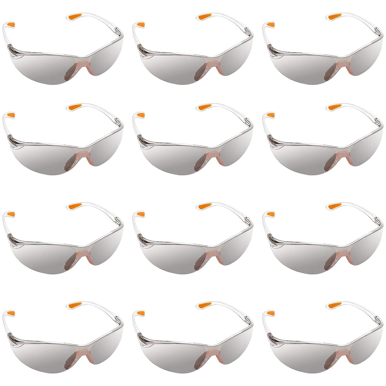 Kurtzy Pack 12 Gafas Seguridad Laboral con Lentes Grises y Plaqueta Nasal de Goma para un Ajuste Seguro - Gafas de Proteccion Lentes Resistente a Arañazos – Gafas PPE – Equipo de Protección Personal