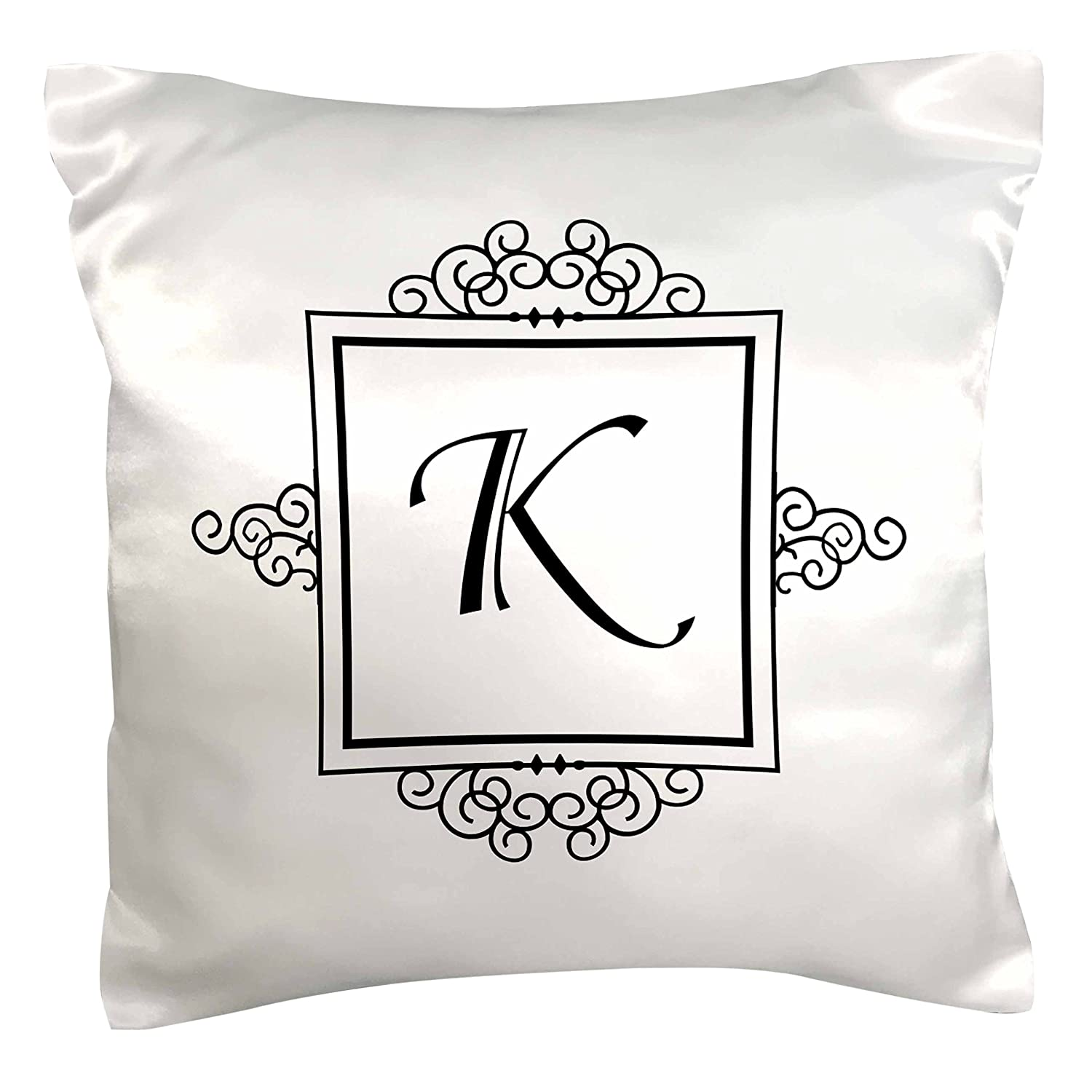 3dRose pc_154334_1 Initial Letter K Personal Monogrammed Fancy Black and White Typography Personalized Pillow Case, 16' x 16'