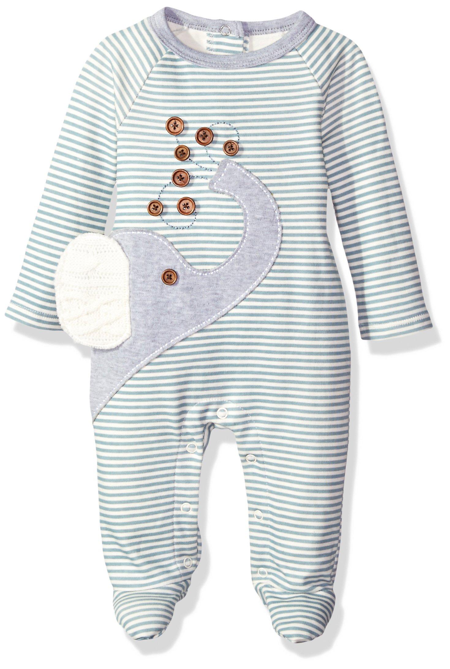 Mud Pie Baby Star Striped One Piece Footed Sleeper, Elephant, 0-3 Months