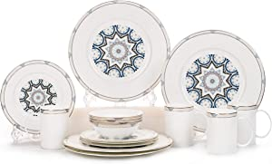 24 Piece Elegant Bone China Dinnerware Set, Dishes,Bowls,Cups,Service for 6 People