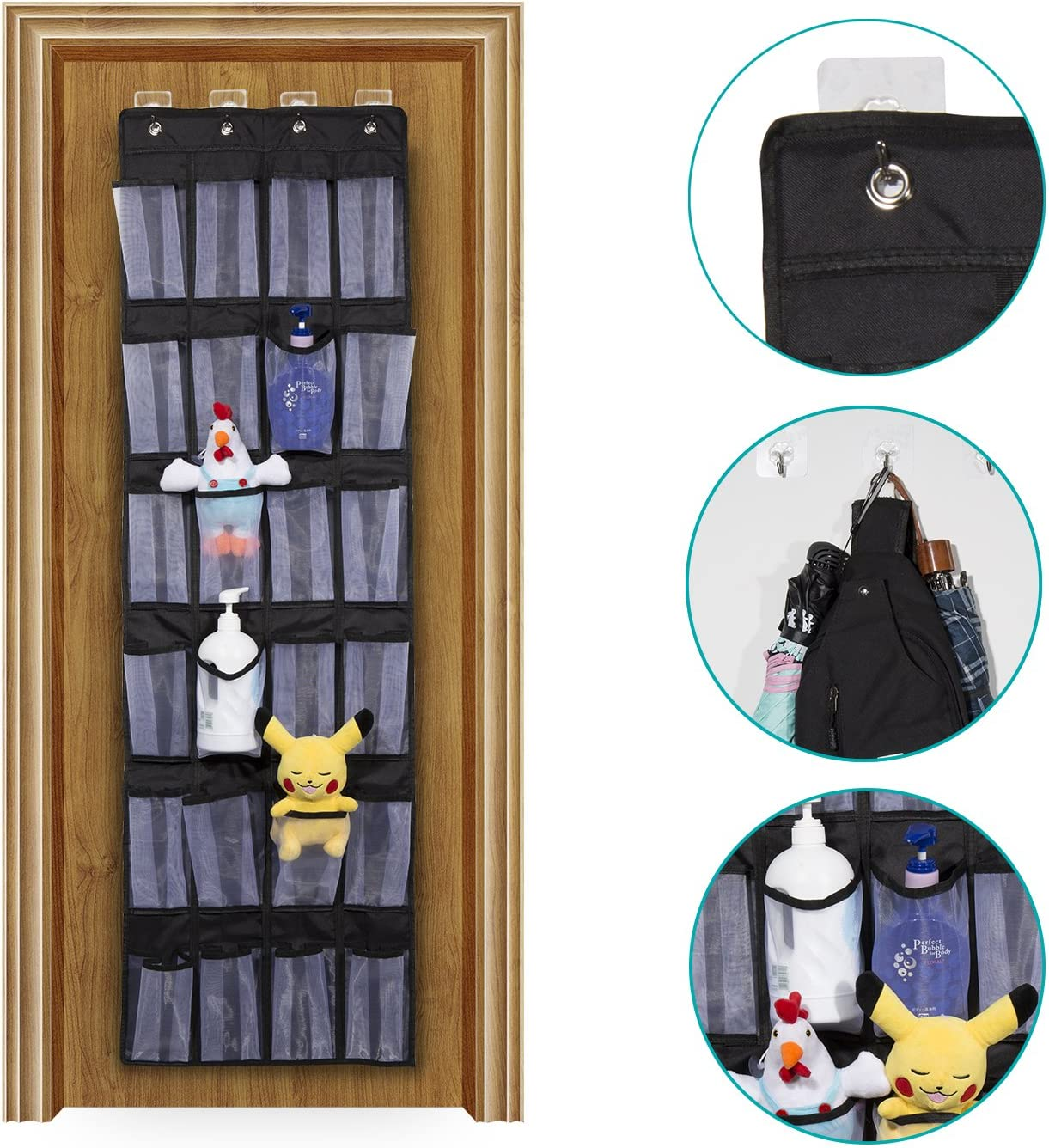 Meepo Hanging Shoe Storage BLACK THICK 600D OXFORD FABRIC Black Oxford Over The Door Shoe Organiser Heavy Duty Shoe Rack with 24 Mesh Pockets Storage for Closet,4 Hooks
