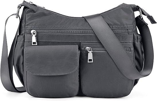 Gray Plambag Crossbody Purse for Women with Anti Theft RFID Pocket Nylon Travel Shoulder Bag