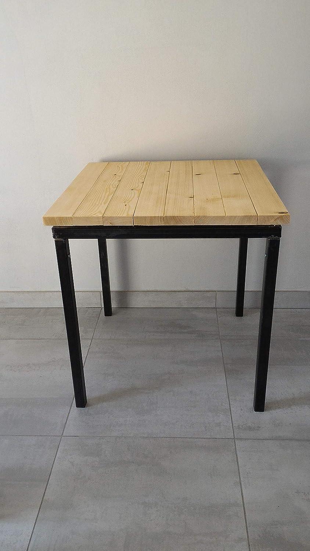 Mesa 120x80 en hierro/madera de abeto.