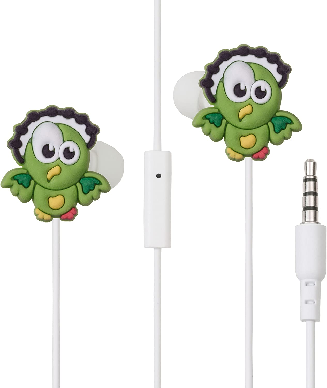 Bird in-Ear Green Headphones for Girls with Mic by Lolachat. Colorful Earphones for iPhone Android Apple Smartphones MP3 - Low Cost