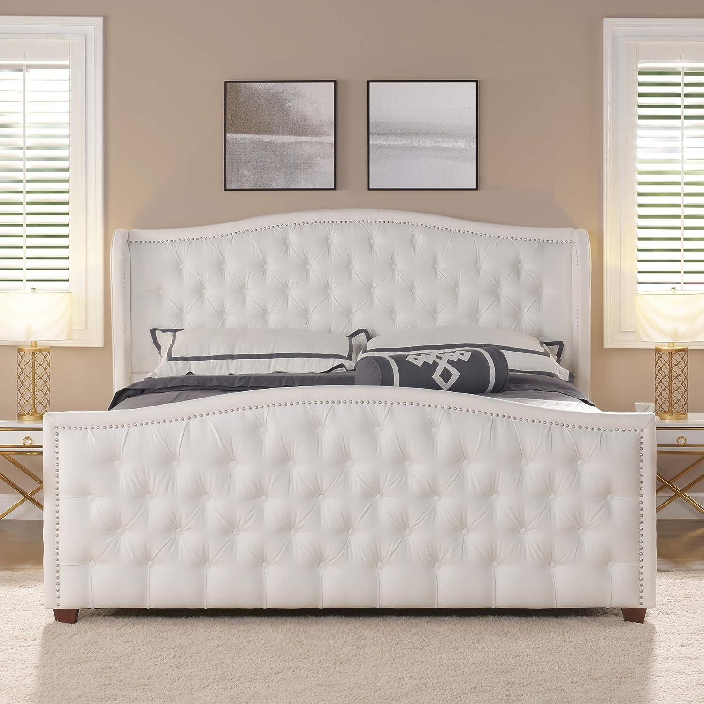 Jennifer Taylor Home Marcella Upholstered Bed - King (Bright White)