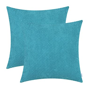 CaliTime Pack of 2 Comfy Throw Pillow Covers Cases for Couch Sofa Bed Comfortable Soft Solid Corduroy Pineapple Trellis Both Sides 20 X 20 Inches Lake Blue