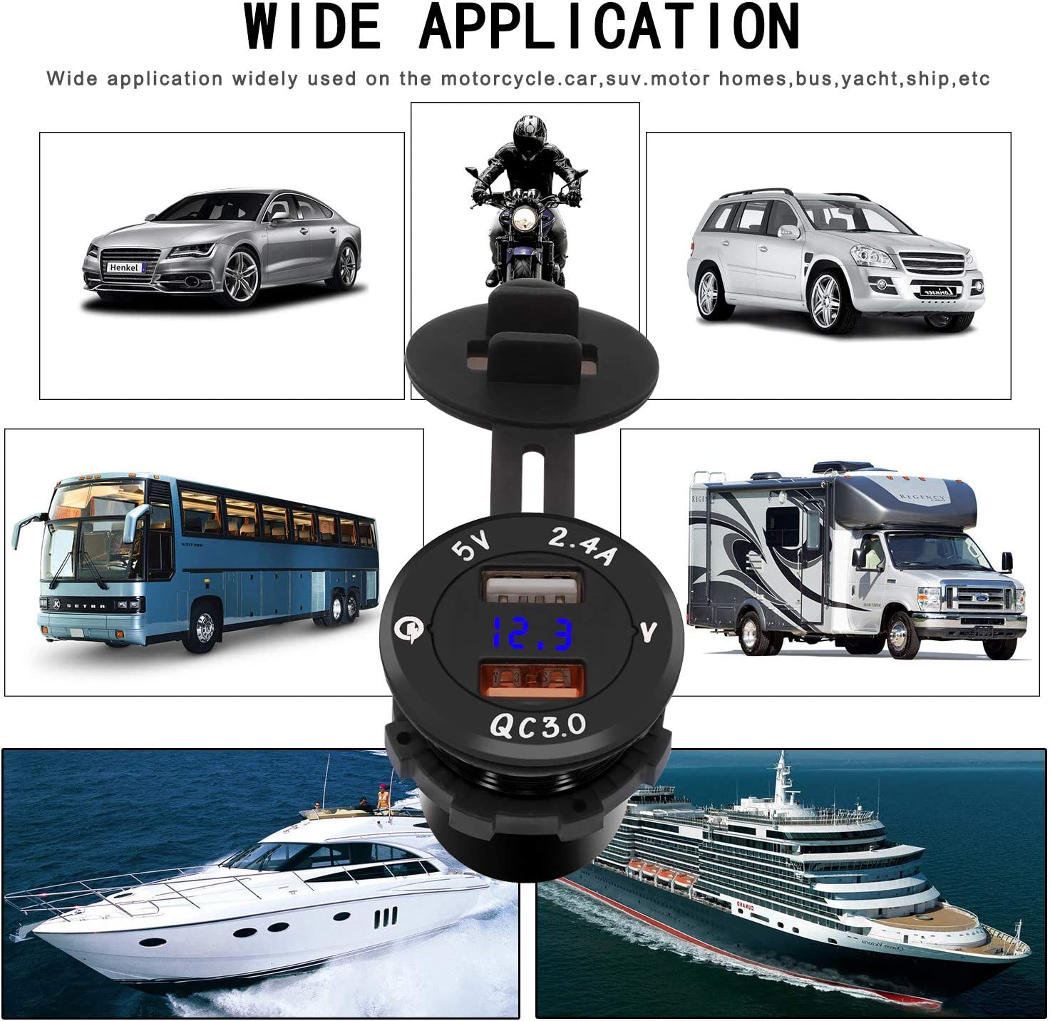 Ur HQCC Prise USB pour Voiture Et Moto 12V 24V, Chargeur