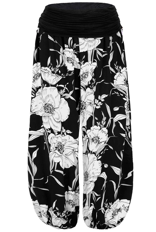 BAISHENGGT Women's Floral Print Elastic Waist Harem Pants One Size Black-Floral