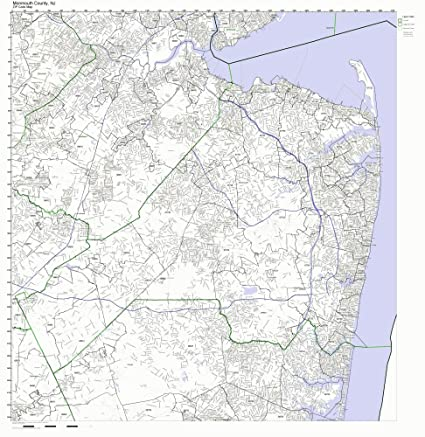 Zip Code New Jersey Map.Amazon Com Monmouth County New Jersey Nj Zip Code Map Not