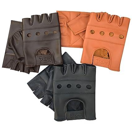 Orime - Guantes sin Dedos de Piel Auténtica Suave de Calidad para Entrenamiento con Pesas,