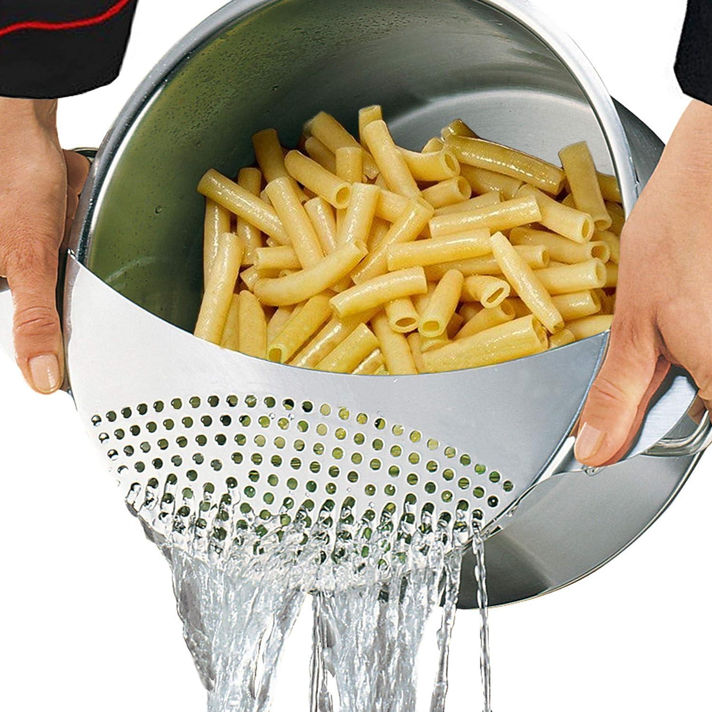 Best Utensils Pan Pot Spaghetti Strainer Premium Stainless Steel Pasta Kitchen Strainer Vegetables Colander & Drainer - Fits All Pots Up To 10 Inches