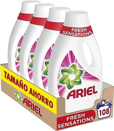 TALLA 108 Lavados. Ariel Detergente Lavadora Líquido, 108 Lavados (Pack 4 x 27), Fragancia Sensaciones