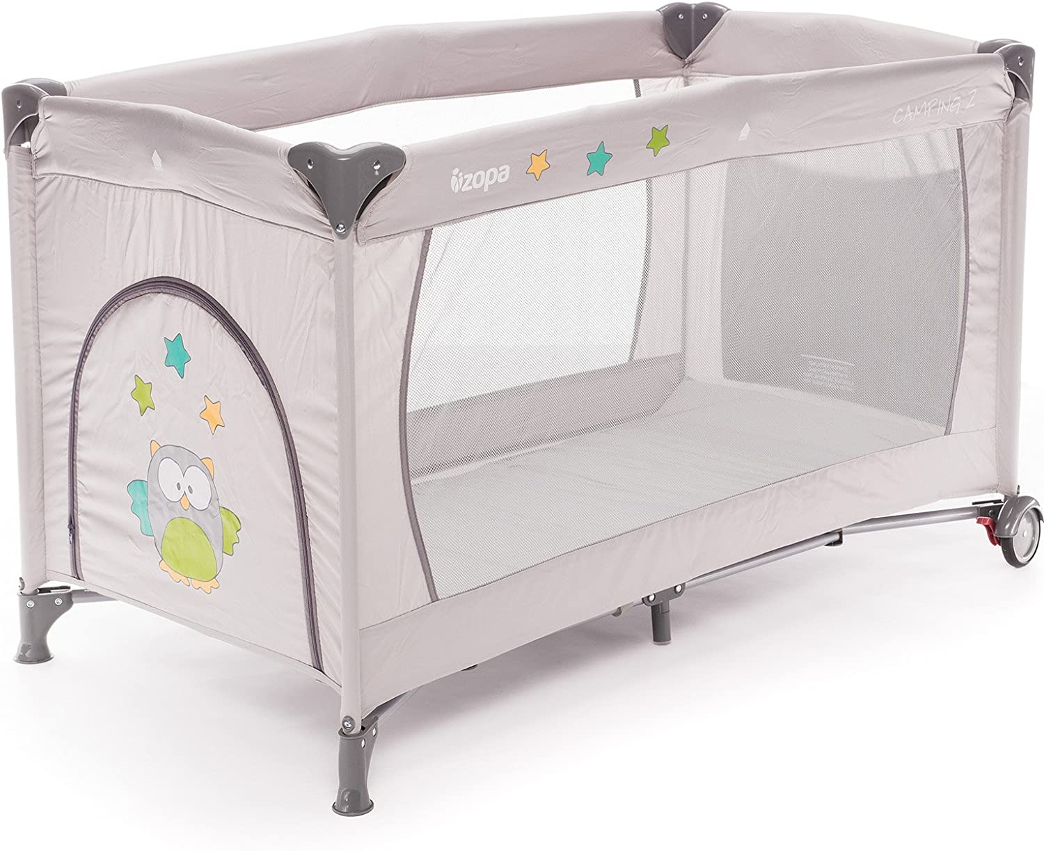from Birth to 15 kg Moolino Fun Travel Cot 125 x 70 cm Carry Bag and Side Opening Grey Folding Mattress Multicolour