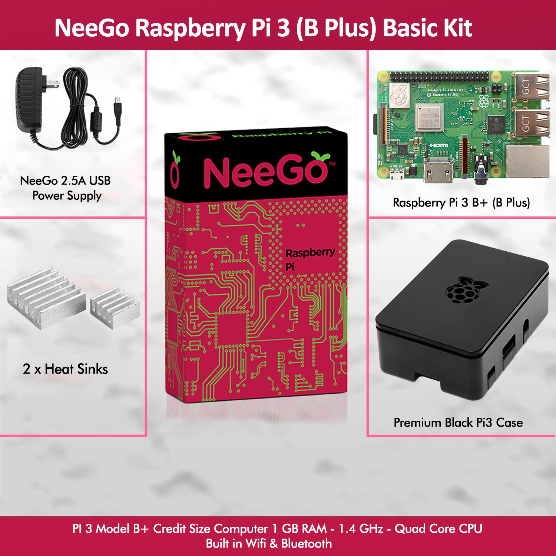 NeeGo Raspberry Pi 3 B+ (B Plus) Basic Kit Pi Barebones Computer Motherboard with 64bit Quad Core CPU & 1GB RAM, Black Pi3 Case, 2.5A Power Supply & Heatsink 2-Pack by NeeGo (Image #2)