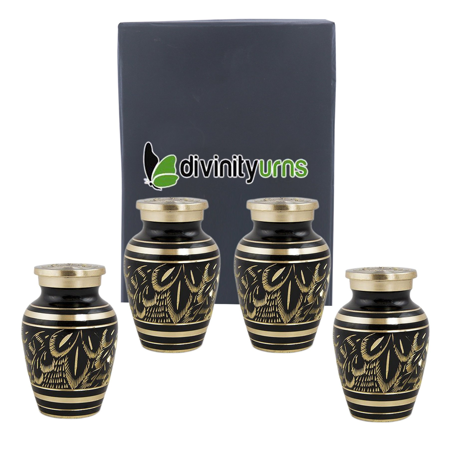 Classic Radiance Brass Keepsakes Set of 4 - Elite Black & Gold Keepsake Urns - Engraved Majestic Radiance Token Urns - Handcrafted and Affordable Mini Urns for Ashes