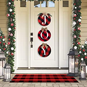 Coco Rossi Christmas Wall Decor Buffalo Check Plaid Wreath Hanging Sign Rustic Burlap Wooden Joy Decor for Christmas Wall Stairs Window Indoor Outdoor Decorations Black and Red