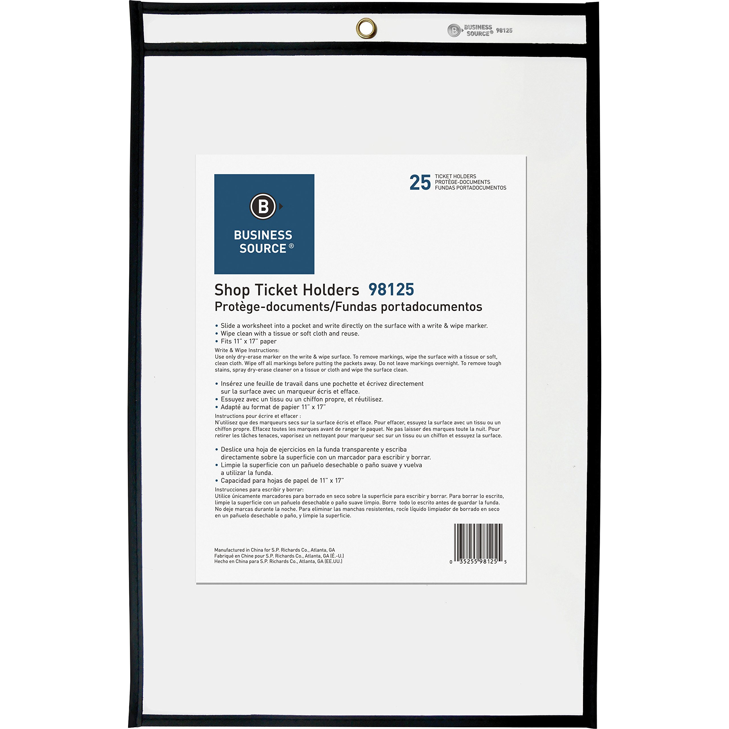 Business Source Clear Heavyweight Shop Ticket Holder, 11''x17'' (98125)
