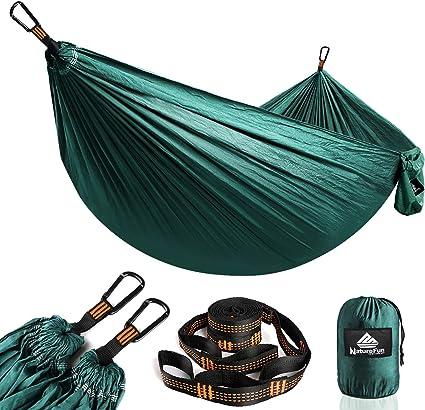 NatureFun Hamaca ultraligera para camping| 300kg de capacidad de carga, (275 x 140 cm) Estilo paracaídas de Nylon, transpirable y de secado rápido. 2 ...