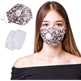 Cloth Face Mask Reusable, Face Masks Washable with Breathing Valve, Adjustable Cute Dust Mask Face Covering with 2PC PM2.5 Ca