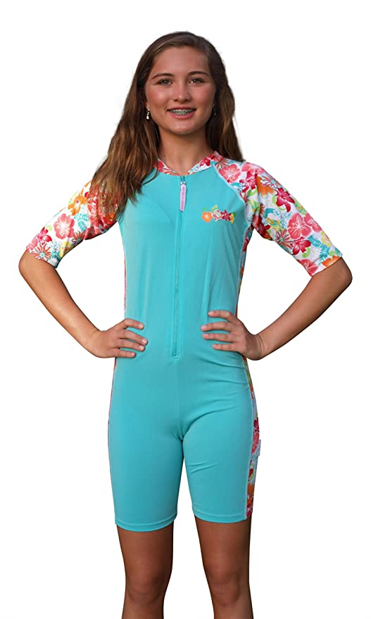 21c5680692 Sun Emporium Girls SPF Protective UV Swimsuit - Turquoise Bathing Suit -  UPF/SPF Protections