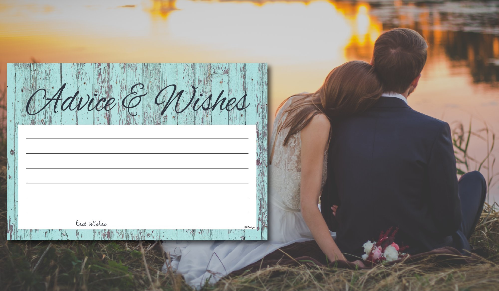 50 Rustic Blue Wood Gender Neutral Advice And Wishes Cards, Any Occasion, Two Grooms or Two Brides Advice Cards, Wedding Advice Cards, Bridal Shower, Advice For The Bride, Baby Shower Advice Cards by L&P Designs (Image #5)