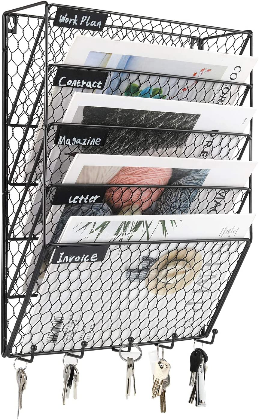 PAG 5 Tier Wall File Holder Hanging Mail Organizer Metal Chicken Wire Wall Mount Magazine Rack with Hooks for Home and Office, Black