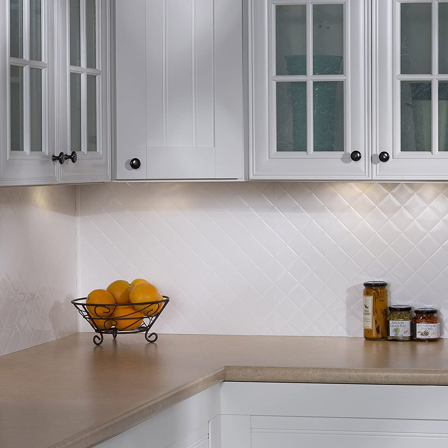 Amazon Fasade Easy Installation Quilted Gloss White Backsplash
