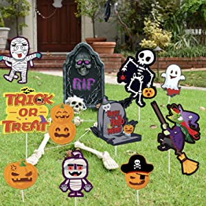 Halloween Outdoor Decorations Yard Signs ,10 Pcs Halloween Props Yard Stakes for Outdoor or Indoor Home Decorations , Frightfully Pumpkins Skeleton Ghost Lawn Sign, Halloween Garden Decorations