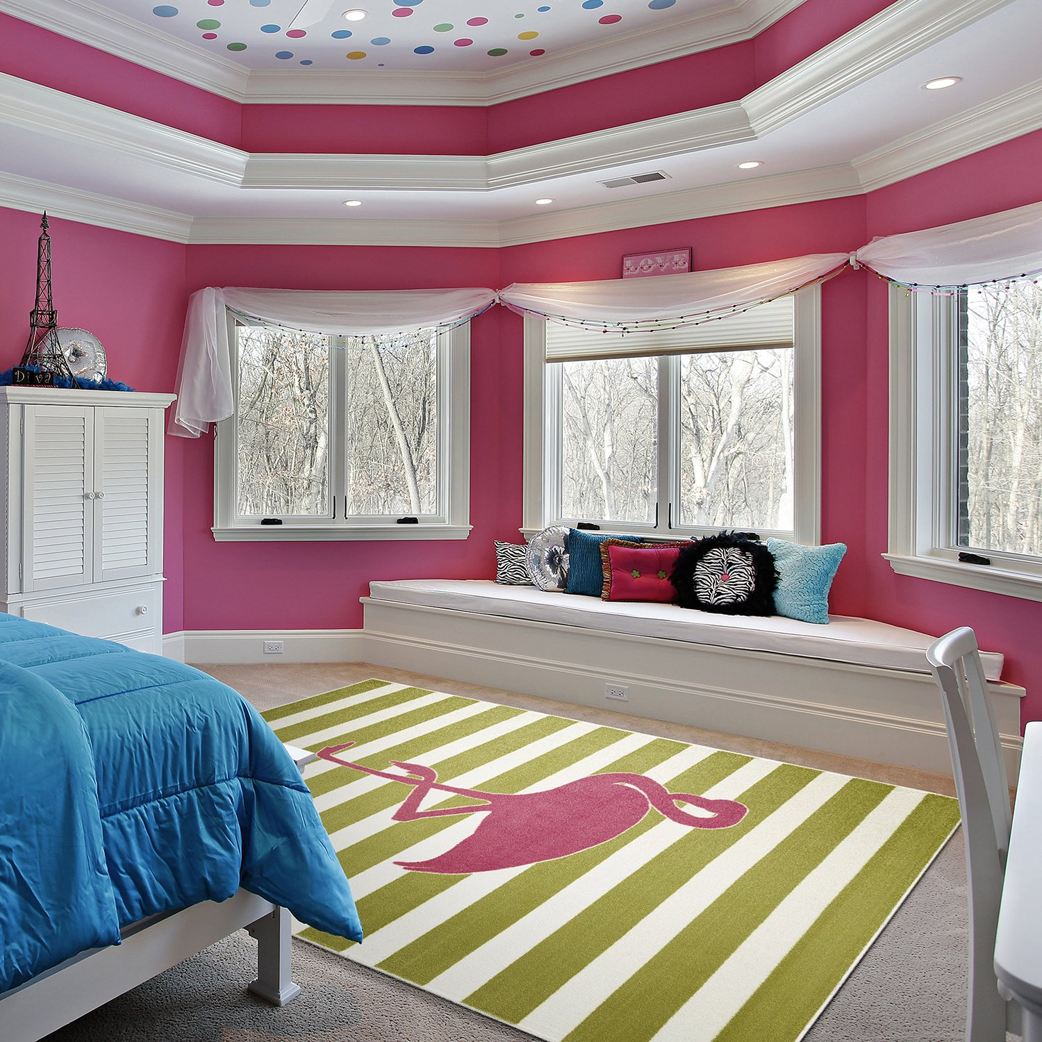 Mohawk Home Aurora Fancy Flamingo Striped Printed Contemporary Kids Area Rug,5'x8',Pink