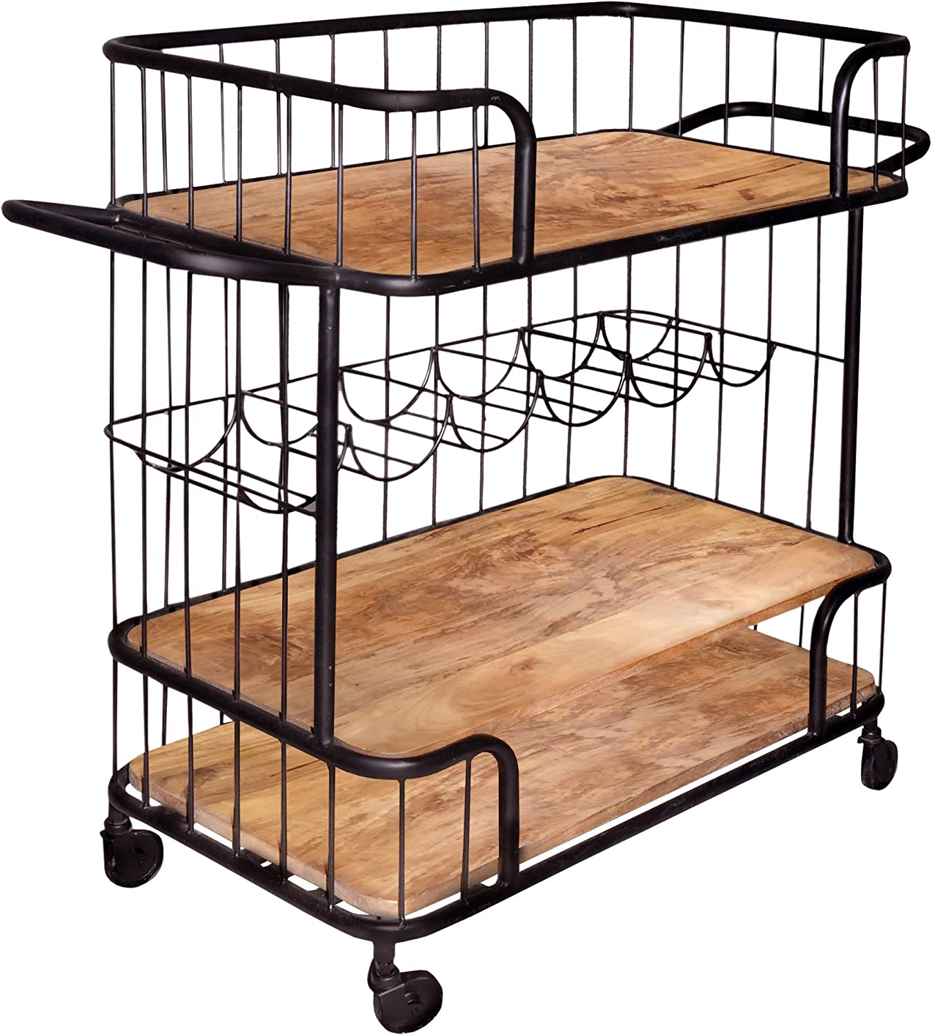 The Urban Port Tup Metal Frame Bar Cart with Wooden Top and 2 Shelves, Black and Brown