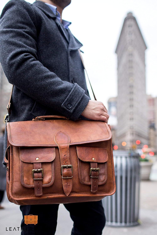 Leather Native Crossbody NEW Men's Genuine Vintage Brown Leather Messenger Shoulder Laptop Bag Briefcase School/Work / Business Bag Great Gift For Men And Women Spring Sale!