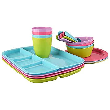 Children\u0027s 24 piece colorful plastic Dinnerware set includes 4 Divided Tray 4 Plates 4  sc 1 st  Amazon.com & Amazon.com | Children\u0027s 24 piece colorful plastic Dinnerware set ...
